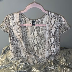 Snake print crop top that ties in the front!